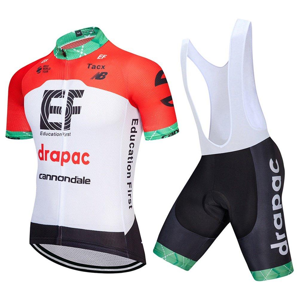 QIXFU Herren Damen Kurze Ärmel Radtrikot mit Bib Shorts -Orange weiß Bike Gepolsterte Shorts Chamois Bekleidung Anzüge, Atmungsaktiv