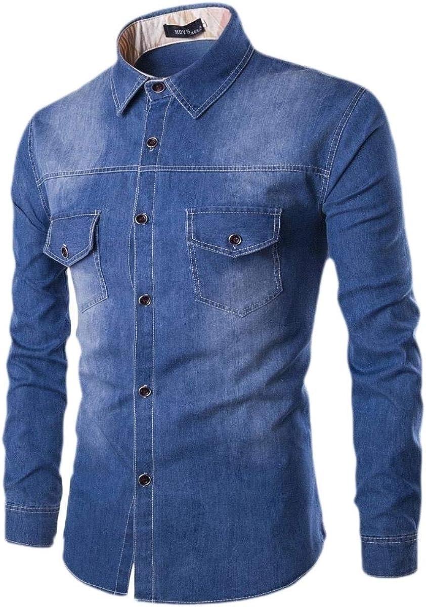 xiaohuoban Men Winter Casual Dress Shirt Button Down Shirts Long-Sleeve Denim Work Shirt