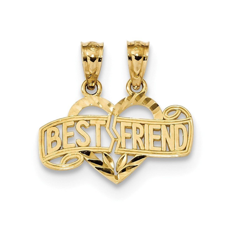 14 Kイエローゴールドポリッシュ2 Piece Best Friendハートペンダント B076HWMFQF