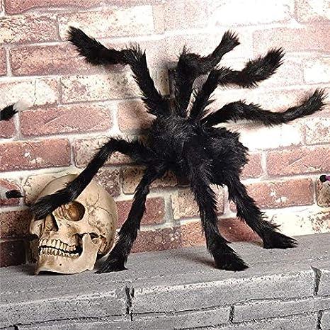 Hihey Poilue Araign/ée G/éante Araign/ée Grand Maison Hant/ée Prop en Peluche Rouge Aux Yeux Poilue Petit en Plastique pour Halloween D/écoration