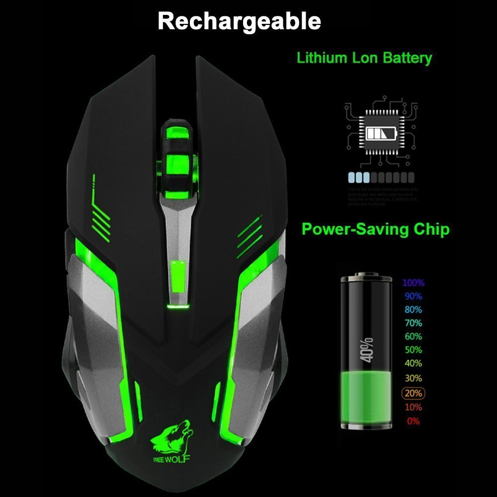 LexonElec Wireless Ergonomic Mouse X7 2.4GHz Rechargeable Silent Optical Pro Gamer Gaming Mice with USB Receiver, 7 Colors LED Backlit, 3 Adjustable DPI (800/1200/1600), 6 Buttons for PC (Black) by LexonElec® (Image #4)