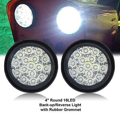 TOPPOWER 4'' Round LED Back up Reverse Fog Light with Clear Lens&Rubber Grommet Waterproof 12/24V Taillight/Side Maker Light for Truck Trailer RV UTV Bus etc,: Automotive