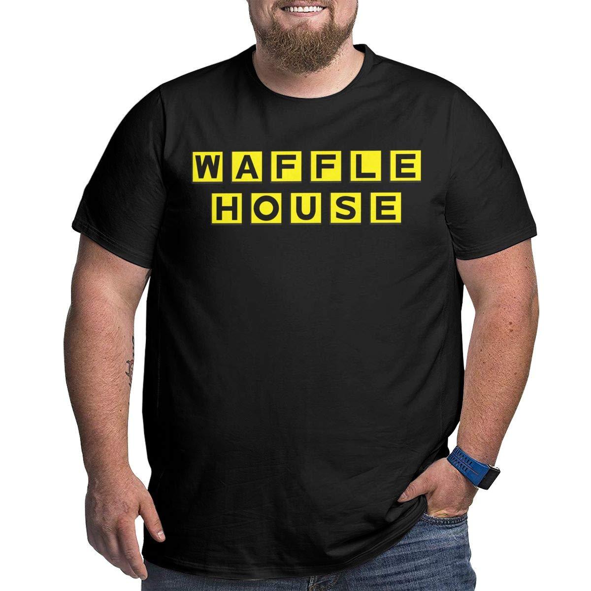 Fat Men's T Shirt Waffle House Logo Tee Shirts T-Shirt Short-Sleeve Round Neck Tshirt for Men Youth Boys Plus Size Black 4XL by BKashy