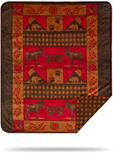 Denali Ultimate Comfort Rustic Throw Blanket, Plush, Hand-Stitched, Super Cozy Blankets Made in The USA, Moose-Bear/Gold Check