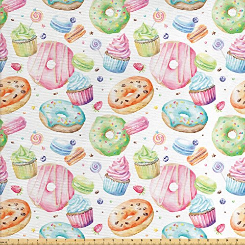 Cupcake Fabric (Ambesonne Sweet Decor Fabric by the Yard, Delicious Macaron Cupcakes Donuts Muffins Sugar Tasty Yummy Watercolor Design, Decorative Fabric for Upholstery and Home Accents, Green Pink)