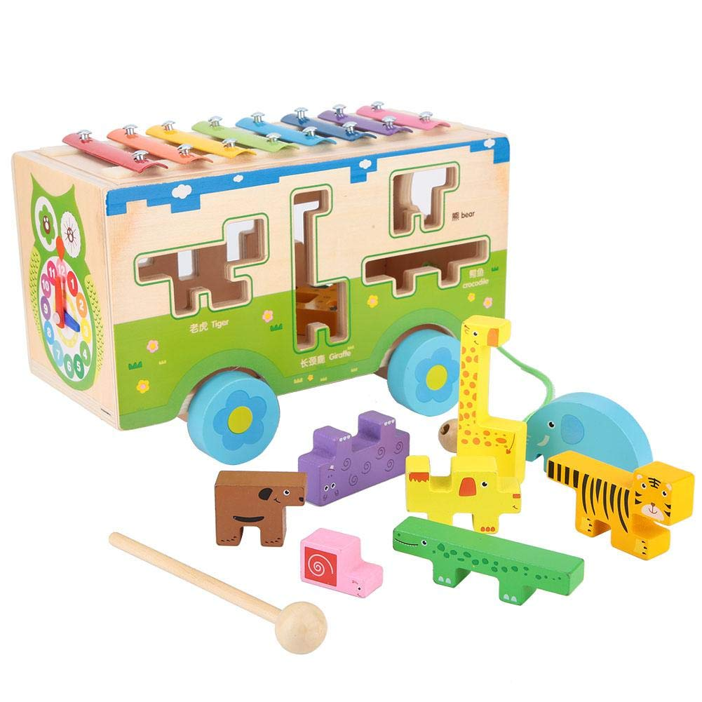 3-in-1 Multifunction Xylophone Music Car Toy Wood Building Bricks Puzzle Game Assembly Colorful Wooden Instrument Toy Early Learning Tool Artistic Development Tool Gifts for Boys Girls