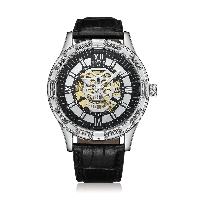 Seworメンズゴールドスケルトン透明ヴィンテージスタイル機械(自動)腕時計 B06Y2C8GNC