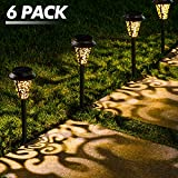 LeiDrail Solar Lights Outdoor Garden Metal Solar Path Lamps Pathway Lighting Decoration LED Stake Landscape Light Waterproof for Outside Backyard Patio Lawn Walkway - 6Pack