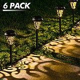 LeiDrail Solar Lights Outdoor Garden Metal Solar Path Lamps Pathway Lighting Decoration LED Stake Landscape Light Waterproof for Outside Backyard Patio Lawn Walkway - 6Pack