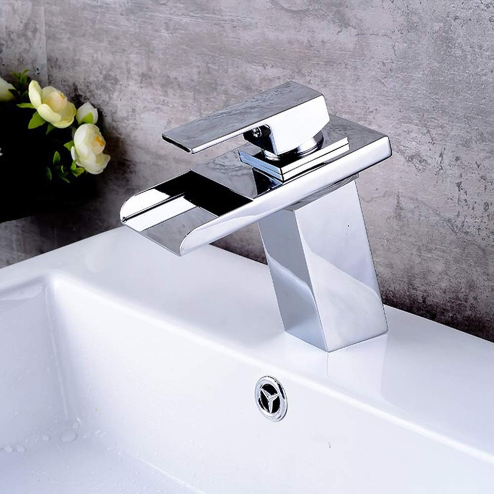 Durable LED Intelligent Temperature Control Anti-scalding Full Copper Wrench Type Copper Basin Faucet, Blue Green Red Water Temperature Free Control practical