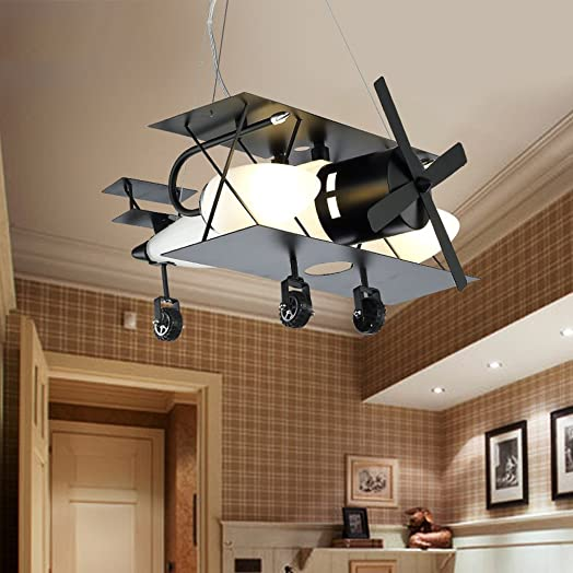 MILUCE Aircraft Children s Room Chandelier Creative Cartoon Retro Iron Lighting Boys Bedroom LED Lamps