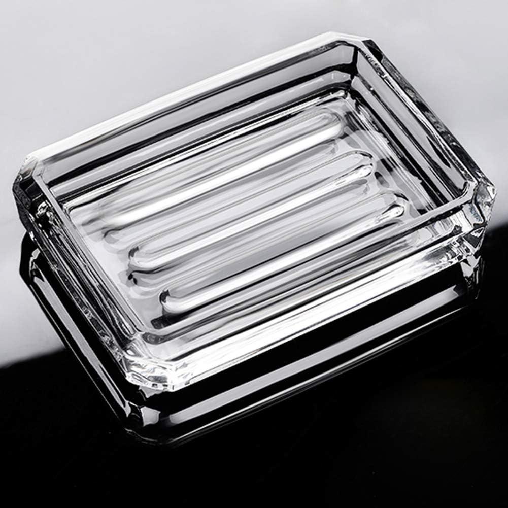 INCETUE Jabonera de cristal transparente con corte de diamante, rectangular, decorativa, diseño moderno, transparente, para lavabo, ducha, encimera