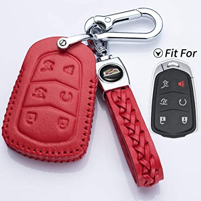 Hey Kaulor Genuine Leather 2015-2020 Cadillac Escalade Remote Key fob Cover Leather Cadillac Escalade Key fob case Holder only for 6 Buttons: Automotive