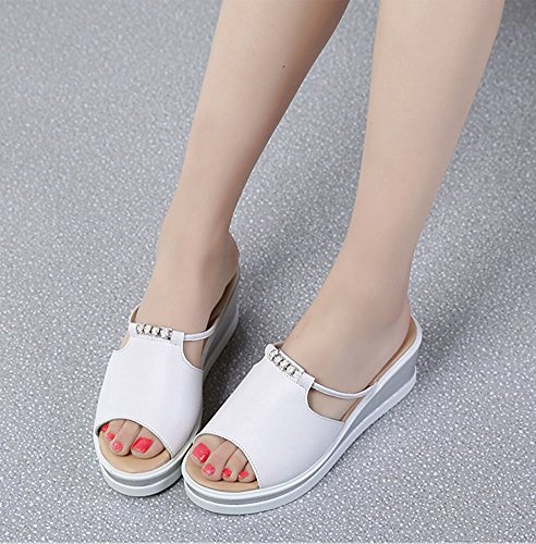 Minetom Mujer Verano Elegante Casual Cuña Plataforma Chancletas Zapatillas Moda Tacón Ancho Sandalias Cabeza Pescado Zapatos Playa Blanco