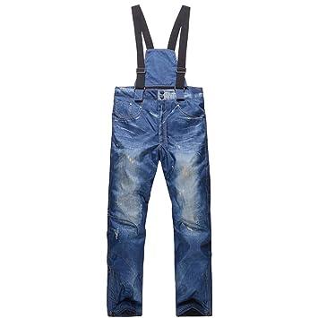 GoodLuckShop Pantalones de Mezclilla Pantalones Vaqueros para Esquiar Impermeables, Transpirables, esquí cálido, Snowboard, Pantalones para Ciclismo ...