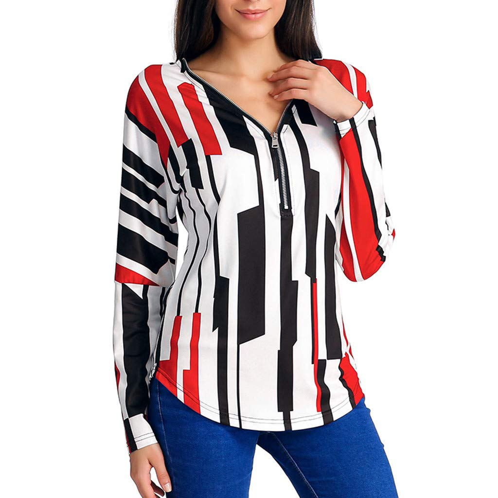 Triskye Womens Casual Long Sleeve Blouse Striped Printed V-Neck Zipper Sweatshirt Shirt Tunic Top for Ladies Teen Girls