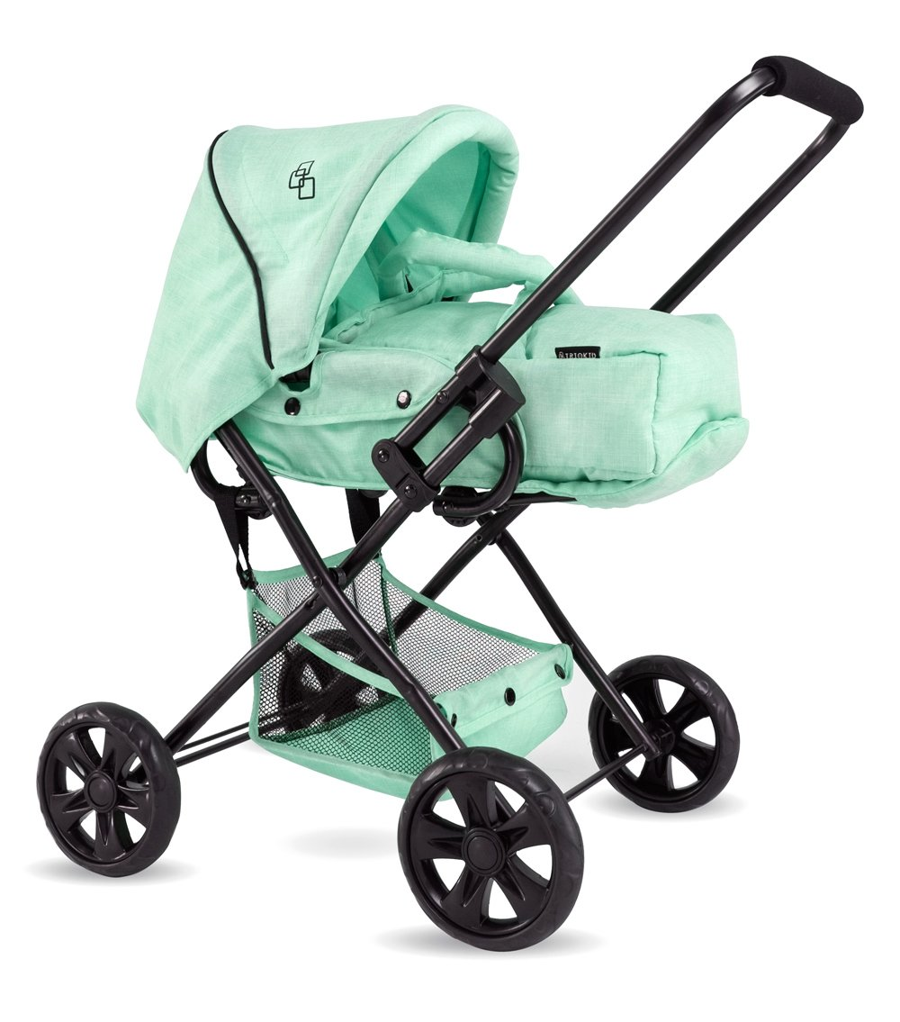 TRIOKID NEW Color 2 in 1 Baby Doll Pram ViViLIne Stoller Mint Green Drawable Fabric with Free Doll Carriage Bag