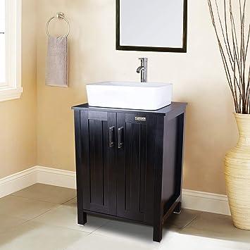 buy popular da7fe 79033 24 Inch Black Bathroom Vanity Cabinet, W/Mirror Set, Square ...