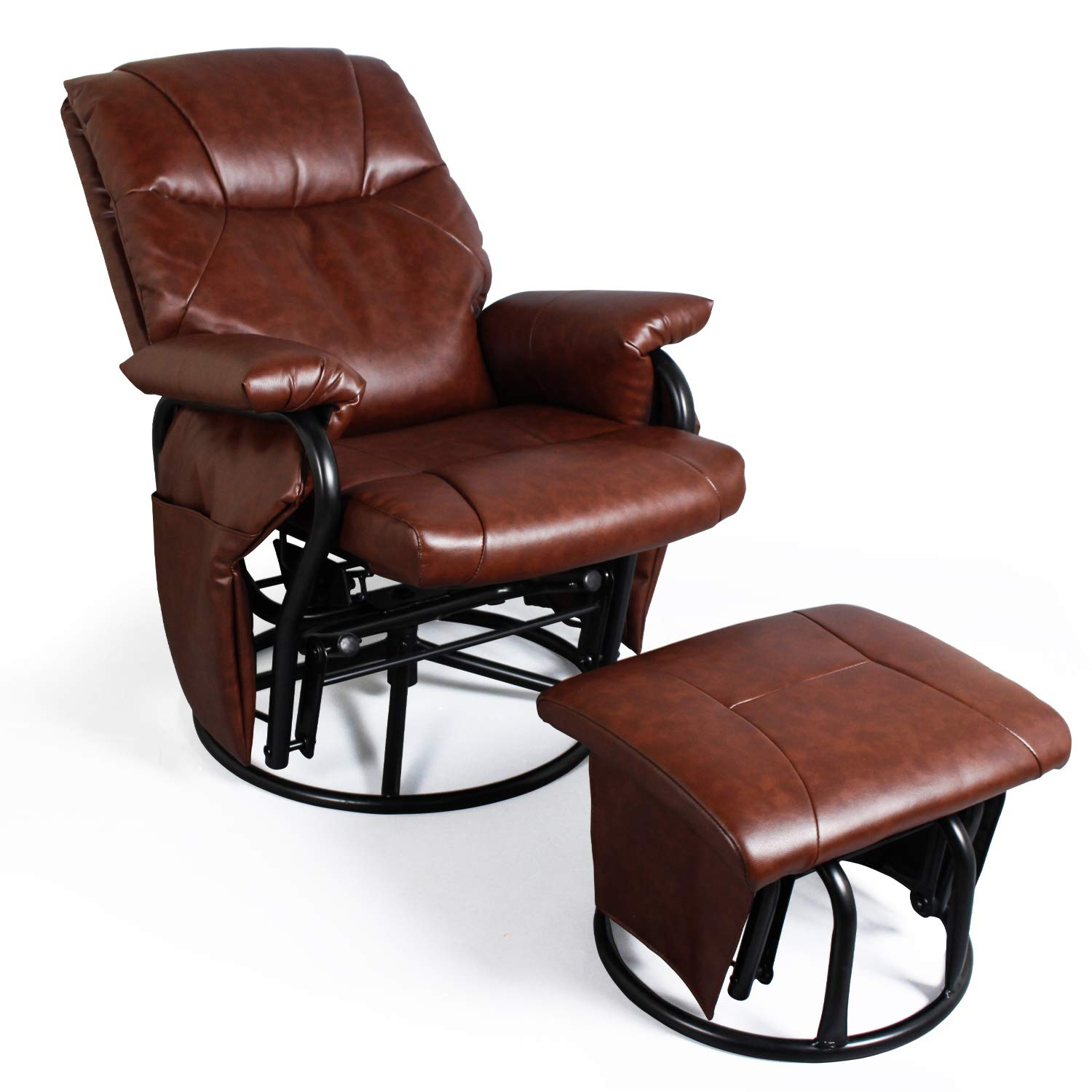 Recliner Chair with Ottoman Living Room Chairs Faux Leather Glider Chair 360 Degree Rotation Leisure and Relaxation Furniture (Red-Brown) by JIASTING