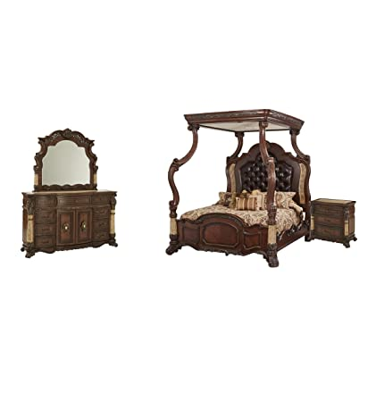 Amazon Com Aico Victoria Palace 4 Pc Canopy Bedroom Set With King