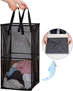 Laundry Hamper Bag with Handles,Portable &Collapsible Dirty Clothes Mesh Basket Foldable for Washing Storage, Kids Room,Dorm or Travel (Black)