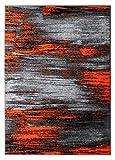 Masada Rugs, Modern Contemporary Area Rug, Orange Grey Black (8 Feet X 10 Feet)