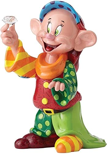Disney Britto 4055687 Dopey 80th Anniversary Piece Figurine, Resin, Multi-Coloured, 15 x 23 x 29 cm