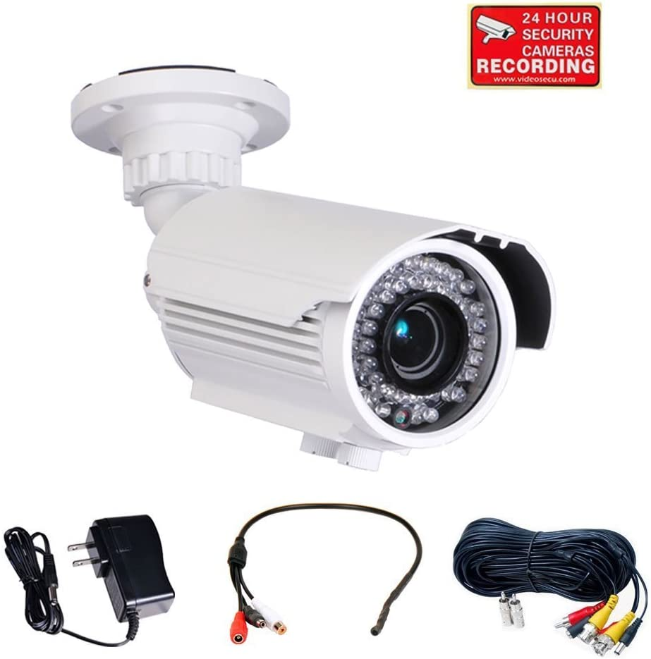 "Videosecu Built-in 1/3"" Sony Effio CCD Security Camera Day Night Vision 700tvl Outdoor Weatherproof 4-9mm Zoom Focus Lens 42 Ir LEDs with Power Supply and Extension Cable A52"