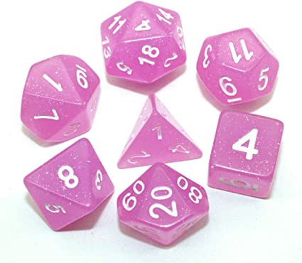 New RPG DnD with Green Numbers NEW Pink and White Candy Swirl Poly Dice Set 7
