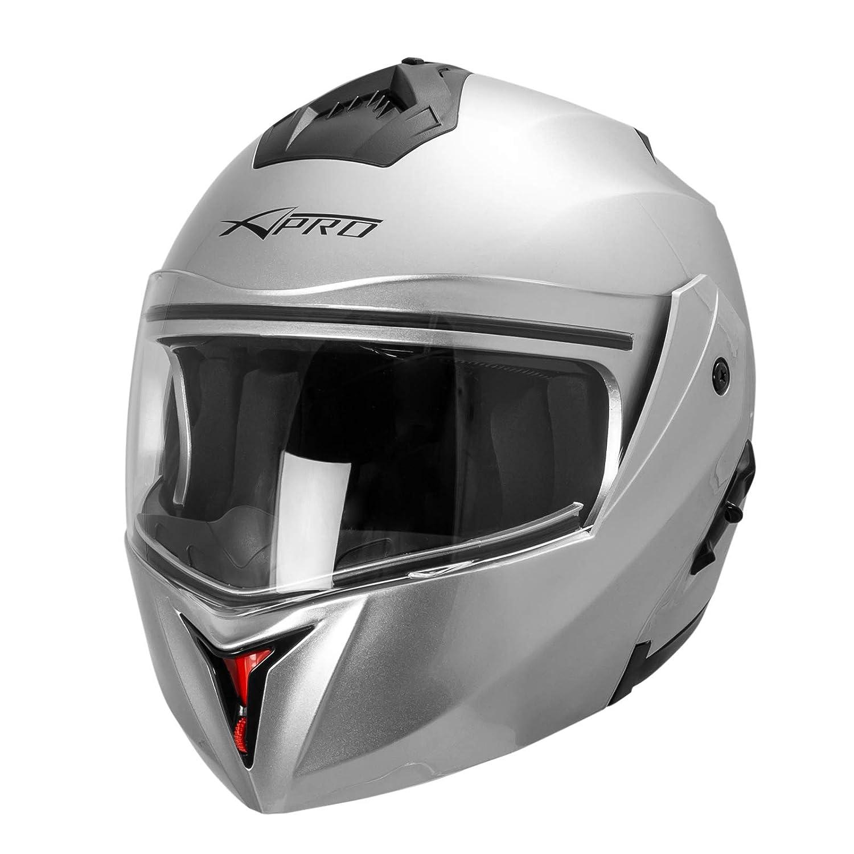 A-PRO SRL Motorradhelm Integralhelm Flip Up Roller Innensonnenblende Silber S