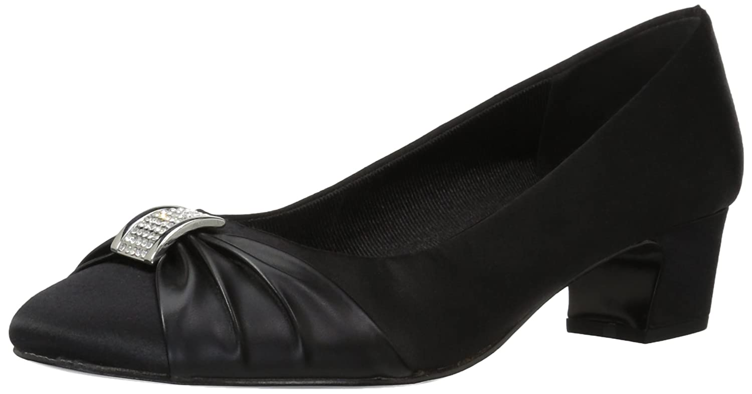Easy Street Women's Eloise Dress Pump B071FNQ1CC 7.5 W US|Black Satin/Black Leather Sole