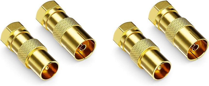 deleyCON Juego de 4 Adaptadores para Cable Satélite - Conector F a 2X Conector de Antena & 2X Toma de Antena Coaxial Antena Conector Acoplamiento para ...
