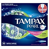 Tampax Pearl Plastic Tampons, Super Absorbency, Scented, 36 Count