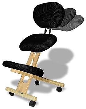 Cinius Silla ergonómica Profesional Color Crema/Negro con Respaldo: Amazon.es: Hogar