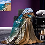 smallbeefly Landscape Digital Printing Blanket Ocean View Tranquil Beach Cabo De Gata Spain Coastal Photo Scenic Summer Scenery Summer Quilt Comforter Blue Brown