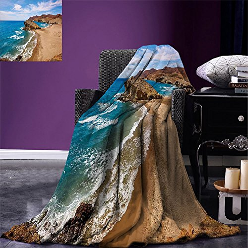 smallbeefly Landscape Digital Printing Blanket Ocean View Tranquil Beach Cabo De Gata Spain Coastal Photo Scenic Summer Scenery Summer Quilt Comforter Blue Brown by smallbeefly