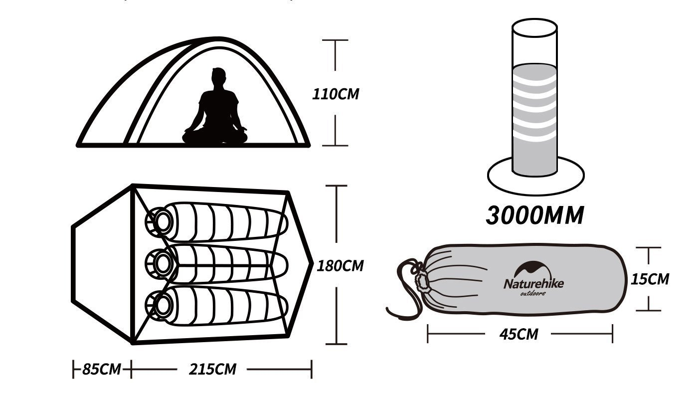 Naturehike Cloud-up Ultra l/ég/ère 3 Personnes /étanche Tente Double Couche Tente de Camping randonn/ée