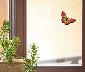color butterfly orange monarch d1 see through vinyl window decal copyright yadda - Color Butterfly 2