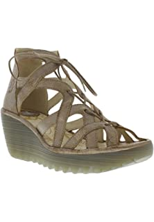 f4f9affe Womens Fly London Yeli Wedge Suede Cut Out Open Toe Holiday Sandal Shoes