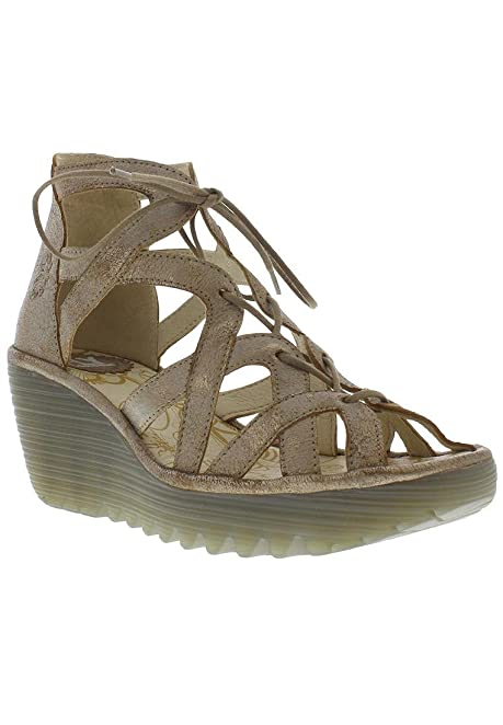 Fly London Leather Sandals Womens Tan Tan Treu Material Technology