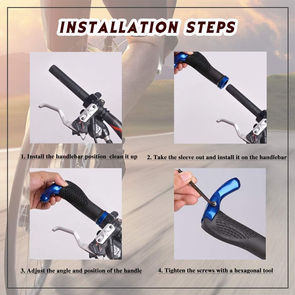 VOANZO Bicycle Handlebar Grips Black Comfortable Protector Ergonomic Design Rubber MTB Mountain Bike Handlebar Grips With Bar Ends Horns