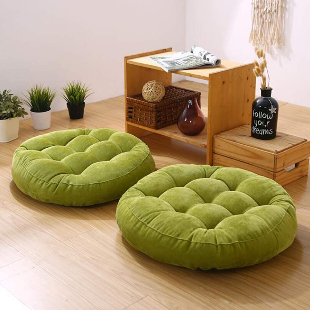 1 Piece Solid Color Round Corduroy Floor Cushion,Tufted Soft Thick Not-Slip Chair Pad Tatami Window Pad Floor Pillow Pouf Green 42x42x5cm(17x17x2inch)