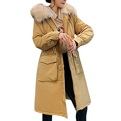 Leadmall Women's Hooded Parka Jacket | Ladies Winter Warm Faux Fur Sherpa Lined Trench Coat with Drawstring | Comfy Loose Fitted Long Sleeve Overcoat Outwear: Garden & Outdoor