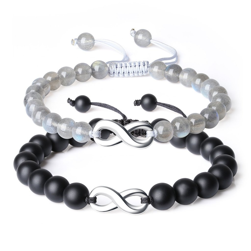 COAI Infinity Charm Labradorite and Onyx Relationship Couple His and Hers Bracelet