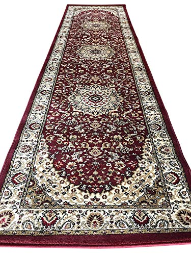 Traditional Long Runner Rug Burgundy Persian 500,000 Point Design 401 (32 Inch X 15 Feet 10 inch)