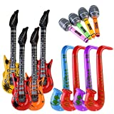 NUOLUX 12pccs Inflatable Toy Inflatable Guitar Saxophone Microphone for Party Bags (Random Color)