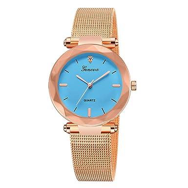DressLksnf_Reloj Original Moda de Mujer Pulsera Deportiva Banda de Malla Reloj Cadena Ajuste Color Puro Simple Acero Inoxidable Durable Digital Clásico: ...