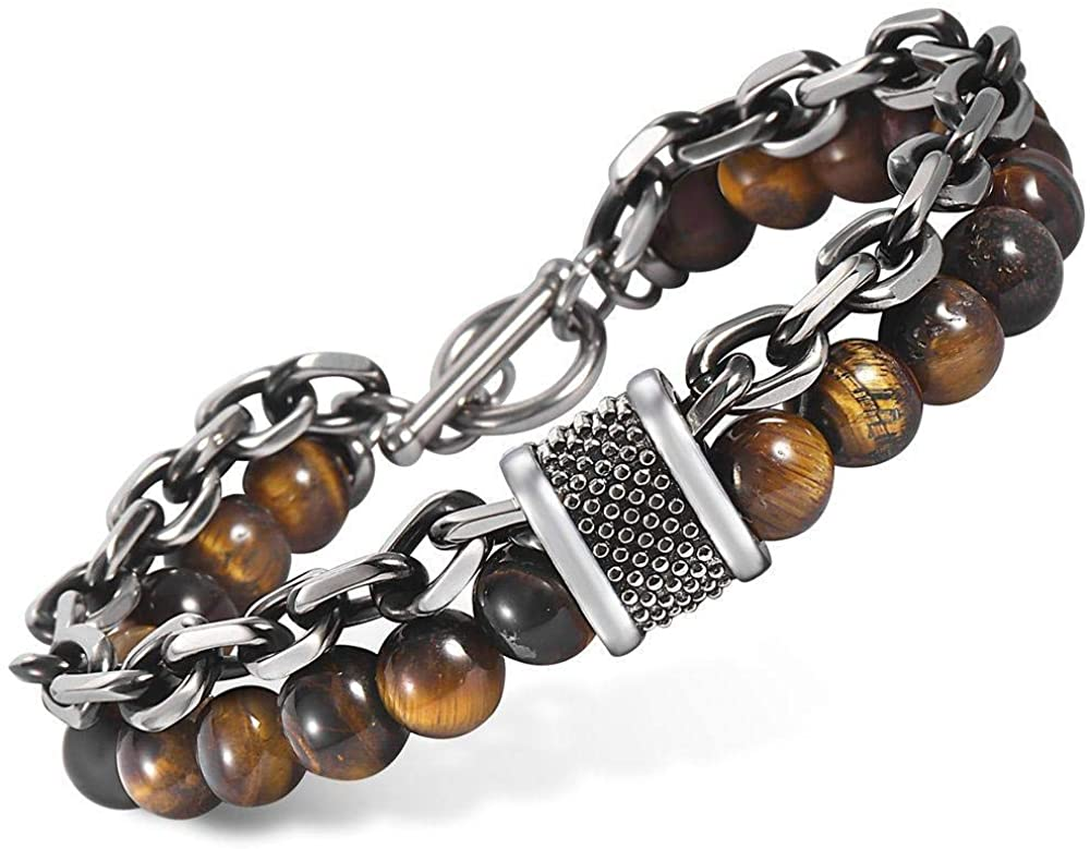 Trendsmax Natural Tiger Eyes Map Stone Beaded Bracelet for Men Womens Gunmetal Stainless Steel Rolo Cable Link Chain Bracelet 8-10inch