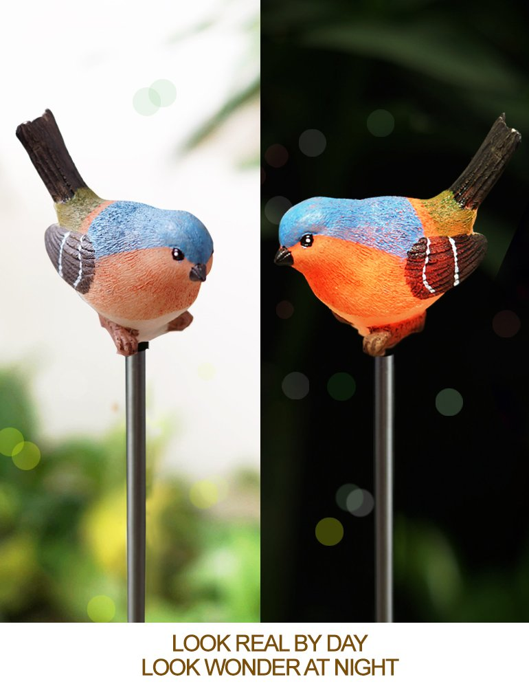 Patio Lights LED Color Changing Pack of 2 Garden Stakes Decorative Birds LED Bird Figurines Color Changing Solar Stake Lights Outdoor Bright Zeal Garden Figurines Outdoor Solar Decor Garden