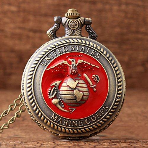 (Red Dial Bronze United States Marine Corps Quartz Pocket Watch for Mens Chain Sculpture Unique Fashion Pocket)